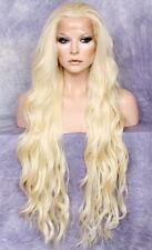 Long HEAT OK Human Hair Blend Full Lace Front Wig wavy Pale Blonde  WEAJ 613