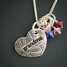 GRANDMA Necklace with 4 Birthstones, Silver, handcrafted - MOTHER'S DAY SPECIAL
