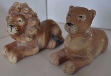 Vintage Lot of 2 Ceramic Cat Lion Figure