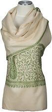Schal, 100% Wolle wool hand bestickt hand embroidered scarf  écharpe  Kashmir