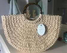 Woven Straw Handbag Ring Handle Beach Tote Bag Purse Ivory NEW
