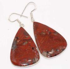 """Earrings 2.2"""" Ethnic Jewelry Gw Red Jasper 925 Silver Plated"""
