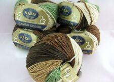 Lot 5 Muti Green 65%Cashmere Bamboo knitting Yarn worst