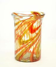 "Mexican Recycled Hurricane Glass Lamp with Red and Amber Swirls-10""H X 7.5""D"