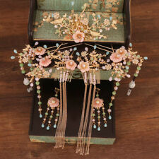 Traditional Chinese Wedding Bridal Tassels Comb Hairpins Earrings Jewelry Set