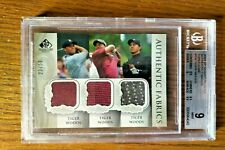2004 SP Authentic Tiger Woods Fabric Threesome (23/50) BGS 9 MINT