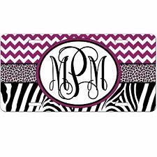 Personalized Monogrammed Car Tag License Plate - Chevron Zebra Leopard Monogram