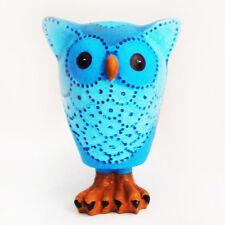 kleine Deko Eule / Uhu blau Tierfigur Figur Geschenk