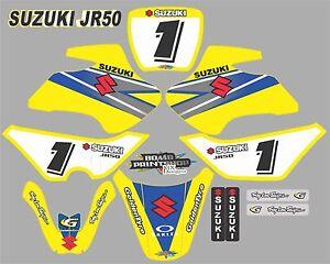 Suzuki JR50 Graphics Decals Fullset laminated stickers motocross