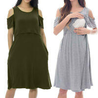 Women Maternity Pregnant Solid Short Sleeve Off Shoulder Dress Nursing Nightgown