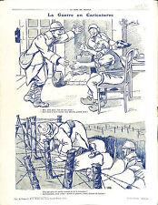 Caricature Guerre Poilus Tranchée Mine Soldats Bataille de Verdun en 1916 WWI