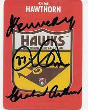 1989 STIMIROL CARD SIGNED BY 3 HAWTHORN LEGENDS / KENNEDY / ARTHUR / PARKIN