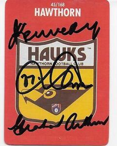 1989 STIMIROL CARD SIGNED BY 3 HAWTHORN LEGENDS / KENNEDY / ARTHUR / PARKIN