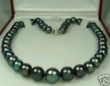 "7-8mm Tahitian Black Natural Pearl Necklace 18"" AA"