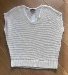 Mint Velvet White Cotton blend Sleeveless Jumper Sweater Top Size L BNWT