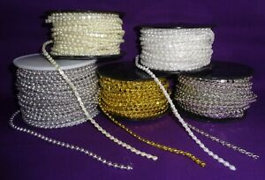 Round Beading String 4mm embellishment. Gold, silver, white, ivory Sold by metre