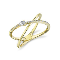 Pear Diamond Crossover Ring 14k Yellow Gold 0.15CT Natural Cocktail Band Size 7