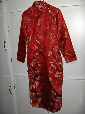 Vintage Red Silk Brocade Japanese Kimono Dress Gold Lined NICE