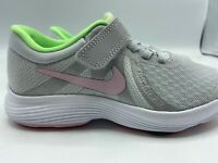 Nike Kids Size 10.5c Revolution 4 (PSV)  943307 006 Grey Silver Pink Green NEW!