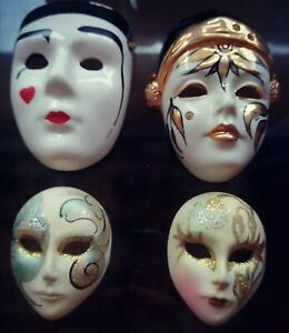 Collection of Four Hand Crafted Vintage Venetian Carnival Masks