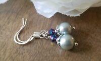 Grey pearl drop earrings, Elegant Purple Swarovski crystals Glass Beaded Dangle