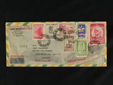Rare Brazil Cover 1950 Registered Airmail to NY Multi-Franking