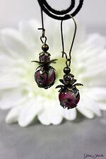 Glass Jewels Bronze Ohrringe Ohrhänger Vintage Perlen Lampwork Lila  #I013