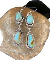 Navajo Native American Pearls Sterling Silver DRY CREEK Turquoise Earrings 1197