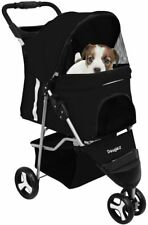 3 Wheel Dog Cat Pet Travel Stroller Folding Carrier Storage Basket Light Weight
