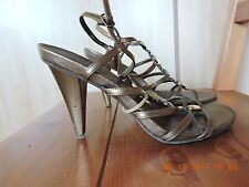 Kenneth Cole Reaction Women Bronze Leather Ankle Straps Sandals Shoes Size 10M