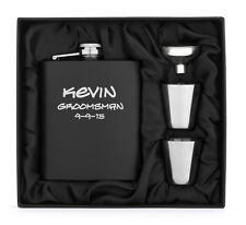 Engraved 7oz Stainless Steel HIP FLASK MATTE BLACK Funnel + Shots PERSONALIZED