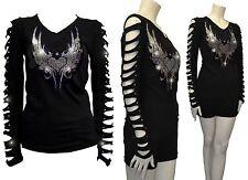 Bling Bling Angel Wings,Hearts Rhinestone Shirt Ripped Slit Cut Out T-Shirt Smal
