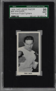 1938 CARTLEDGE  RAZOR # 46 MAX BAER 96 MINT 9 FAMOUS PRIZE FIGHTERS
