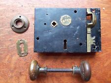 Antique Carpenter's Box Lock with Keeper, Knobs, Rose c1830 England