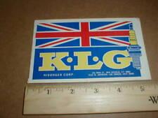 Vtg Old KLG Spark Plugs Nisonger Corp British UK Formula F1 Racing Decal Sticker