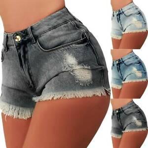 Womens Ladies High Waist Ripped Jeans Shorts Skinny Summer Beach Denim Hot Pants