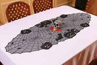 "Spooky Lace Pumpkin And Skull Tabletop Runner Cloth 23"" x 63"" Halloween Decor"