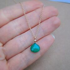 U&C Sundance Natural Emerald Solitaire 14k Gold Filled Chain Necklace
