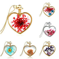 Real Dried Flower Glass Heart Gold Or Silver Plated Pendant Necklace 7 Varieties