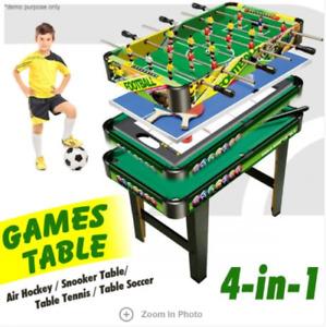 4-in-1 Games Table- Air Hockey / Pool / Foosball / Table Tennis 14.85kgs  3+
