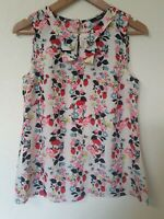 Oasis Floaty Strawberry Floral Print Relaxed Fit Collared Blouse Top Size 10