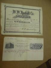 1904 Kimball Piano Purchase Receipt Warranty Certificate Ephemera Lot Antique