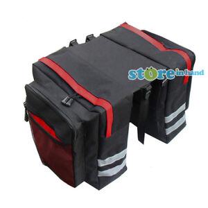 New Bicycle Pannier Bags Bike Rear Rack Carrier Waterproof Seat Box 600D Red