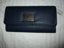 NWT $60 Tahari Flap Clutch Women's Wallet Nautical Blue Identity Protect Lining