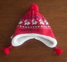 9a3dafb68740a Old Navy NWT Girls Size M Red Bunny Knit Hat W  Fleece Lining Pom Pom