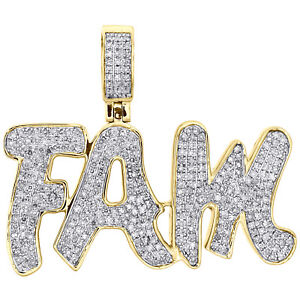 "10K Yellow Gold Real Diamond FAM Statement FAMILY Pendant 1.30"" Pave Charm 1 CT."