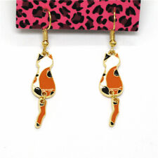 New Orange Enamel Cute Playful Cat Girls Betsey Johnson Women Stand Earrings
