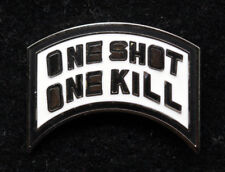 ONE SHOT ONE KILL SNIPER HAT PIN UP US ARMY MARINES NAVY AIR FORCE RIFLE PISTOL