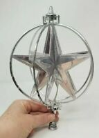 "Mid Century Old Vintage Silver Star Plastic Folding Christmas Tree Topper 9""x 6"""