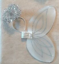 """Angel Wings & Halo Set Fairy White Silver Glitter One Size Cosplay 19"""" Tinsel"""